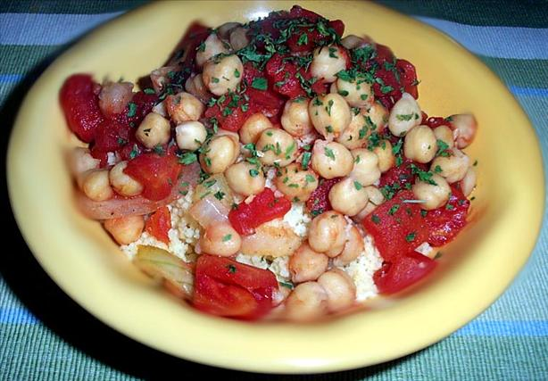 Stewed Tomatoes and Garbanzo Beans. Photo by dicentra