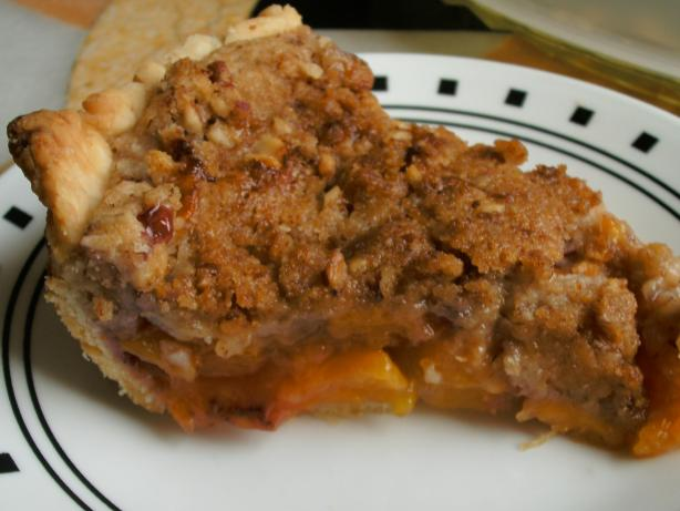 Peach Pie With Almond-Pecan Streusel. Photo by sweetcakes
