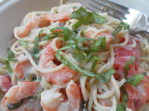 Shrimp and Pasta in a Basil  Cream Sauce. Photo by Pam-I-Am