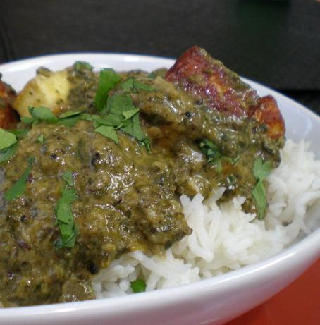 Palak Paneer (Indian Fresh Spinach With Paneer Cheese). Photo by Sandi (From CA)