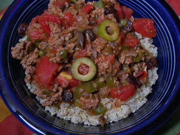 Quinoa Beef Picadillo. Photo by justcallmetoni