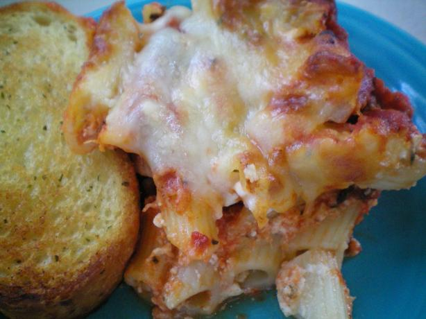 Baked Ziti With Thick Rich Meat Sauce. Photo by CoffeeB