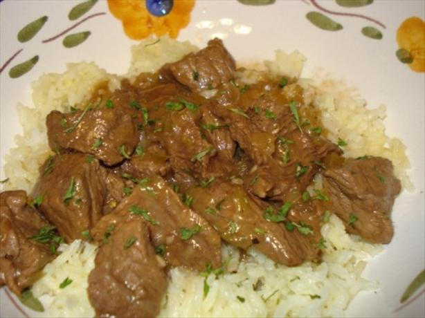 Beef Tips and Rice. Photo by Kim D.