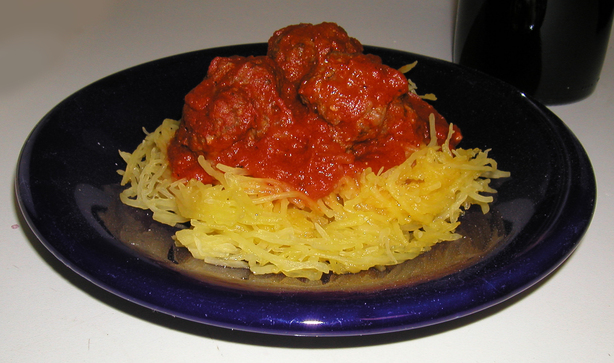 Spaghetti Squash With Meatballs and Cabernet Marinara Sauce. Photo by Emily Elizabeth