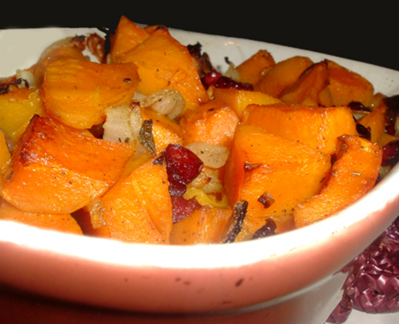 Baked Butternut Squash and Cranberries. Photo by Bergy