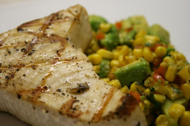 Chargrilled Swordfish on Warm Avocado Corn Salad. Photo by Julie.25