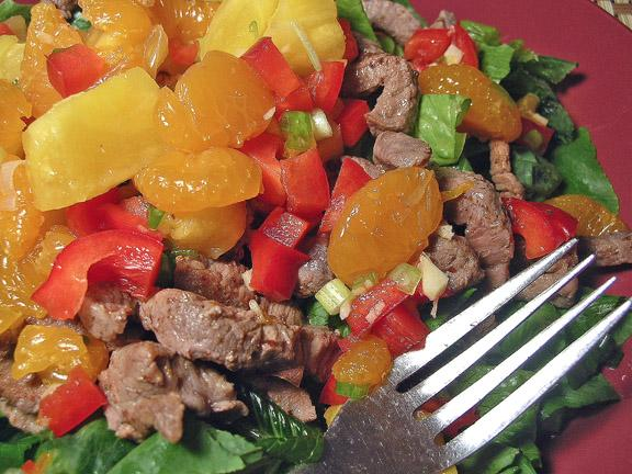 Pineapple, Beef and Mandarin Salad. Photo by justcallmetoni