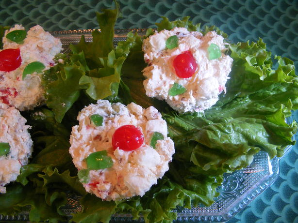 Christmas Frozen Cream Cheese Fruit Cups. Photo by Seasoned Cook