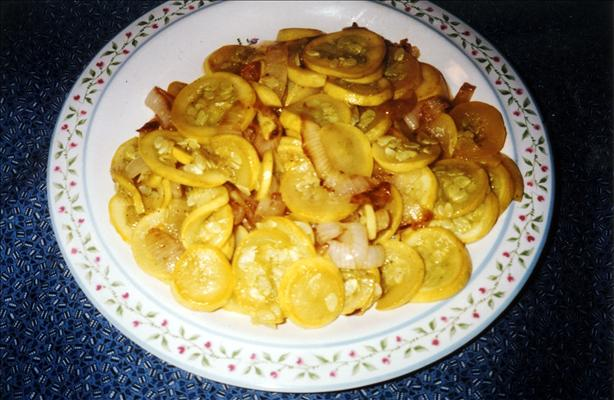 Sautéed Yellow Squash With Onions. Photo by Seasoned Cook