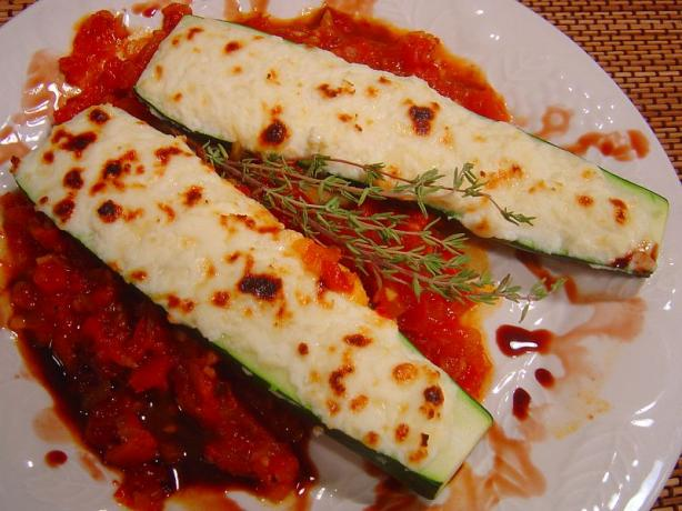 Zucchini Filled With Three Cheeses With Homemade Tomato Sauce. Photo by :(