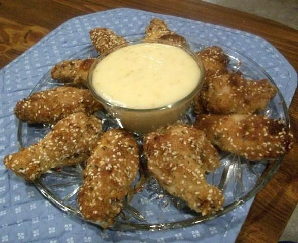 Chicken Wings&#8230;. With a Sesame Honey Dip