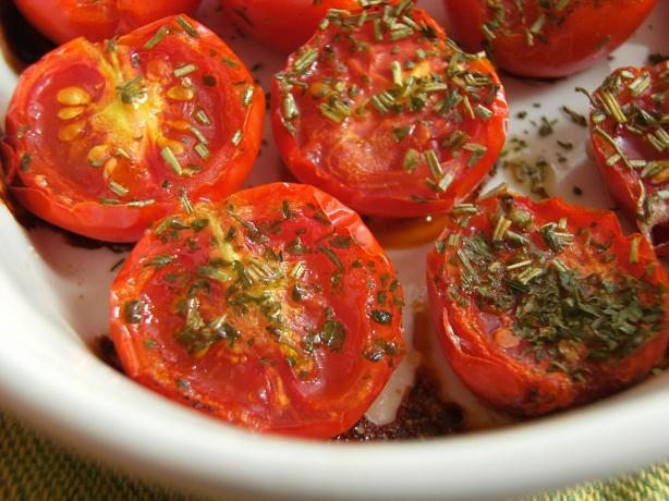 Baked Baby Roma Tomatoes. Photo by Lalaloula