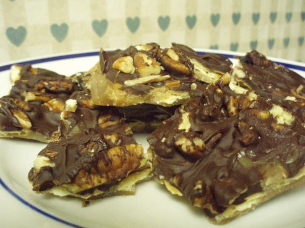 Chocolate Toffee Candy Cookies (Saltine Candy). Photo by beckihrh