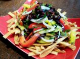 Peppers and Black Beans on a Bed of Crunchy Tortilla Strips