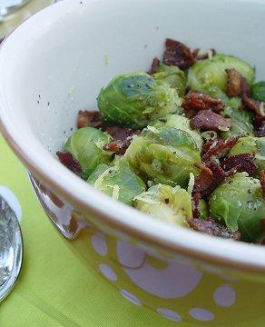Lemon Infused Buttered Brussels Sprouts W/ Crisp Peppered Bacon. Photo by Beautiful BC