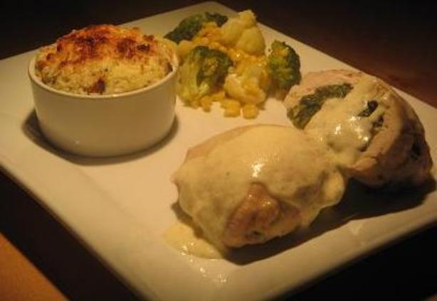 Spinach and Boursin Stuffed Chicken With Alfredo Sauce. Photo by The Flying Chef