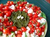Festive Caprese Salad Wreath. Recipe by Zurie