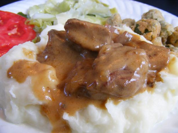 Crock Pot Beef Tips With Creamy Gravy. Photo by Seasoned Cook