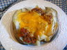 Baked Potatoes With Meat Sauce. Recipe by Seasoned Cook