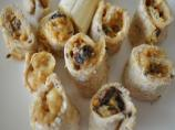 Peanut Butter, Banana and Sultanas Sandwiches or Pinwheel Style