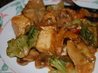 Spicy Stir Fry Tofu With Peanut Sauce W/ Snow Peas and Mushrooms. Recipe by mikey & ev