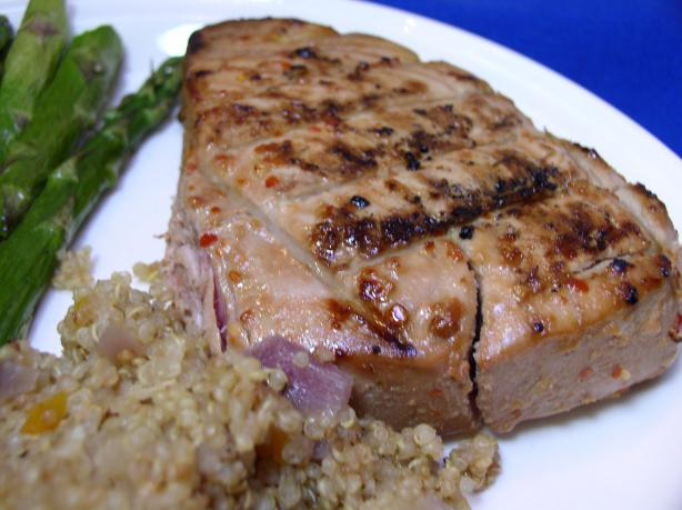Bek's Grilled Tuna Steaks Glazed With Ginger, Lime, and Soy OAMC. Photo by Bayhill