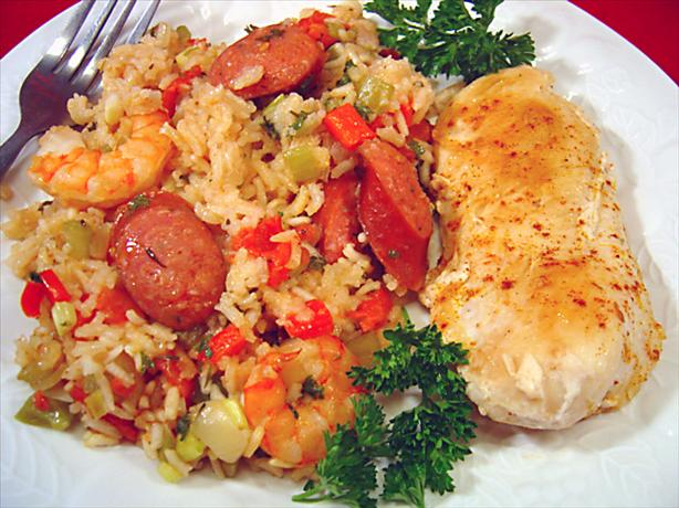 Chicken, Shrimp and Andouille Jambalaya. Photo by :(
