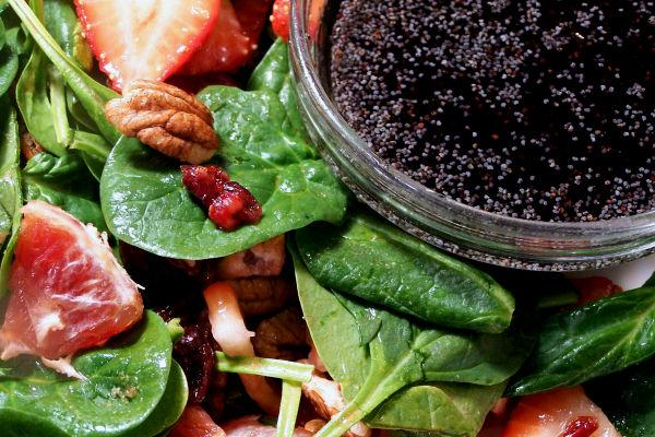 Strawberry Spinach Salad W/Raspberry-Key Lime Vinaigrette. Photo by NcMysteryShopper