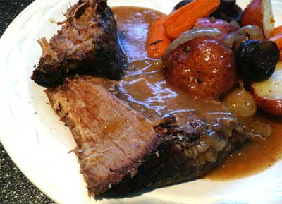 Sauerbraten in Crock Pot. Photo by Mikekey
