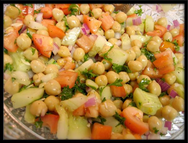 Cucumber and Garbanzo Bean Salad. Photo by eatrealfood