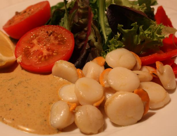 Scallops With Curry Chive Mayonnaise. Photo by Peter J