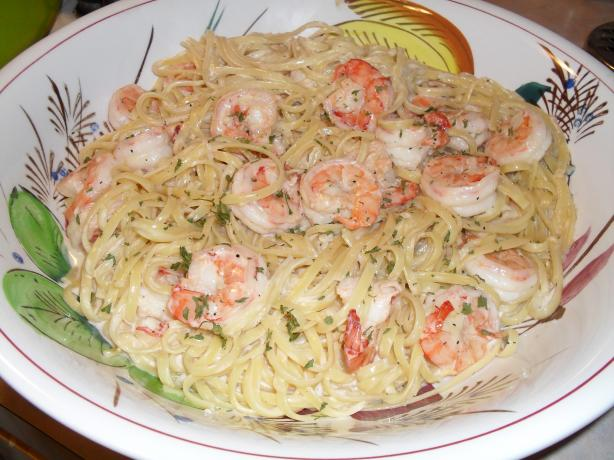 Linguini Alfredo With Shrimp. Photo by vivmom