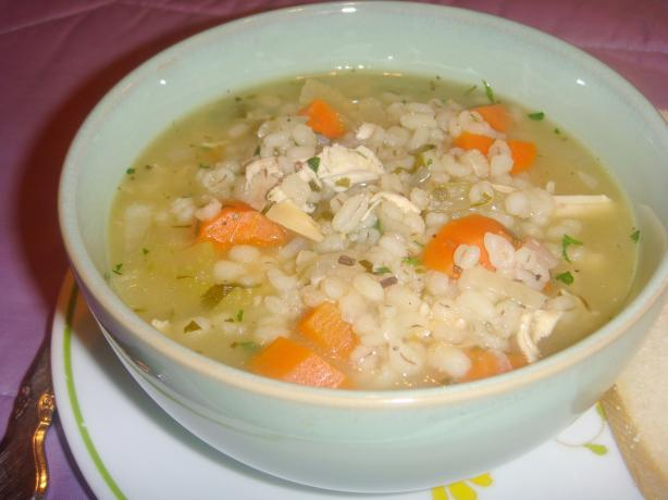 Scarborough Fair Chicken Barley Soup. Photo by Lori Mama
