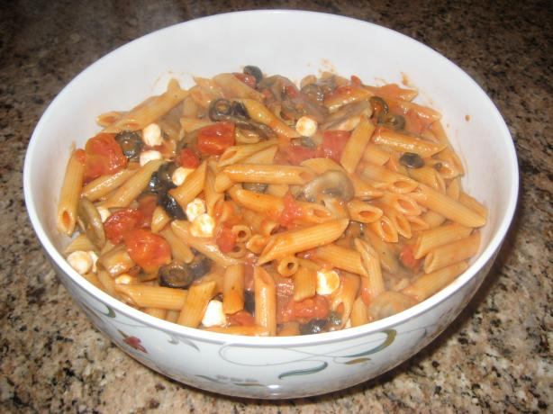 Delicious Penne Vodka With Fresh Mushrooms, Mozzarella, Olives,. Photo by BlondieItaliana