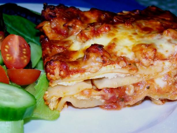 No-Boil Cheesy Lasagna (Vegetarian) With Optional Meat Sauce. Photo by **Jubes**