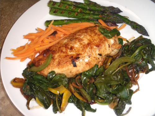 Chicken With Balsamic Glaze and Fresh Spinach. Photo by Bergy