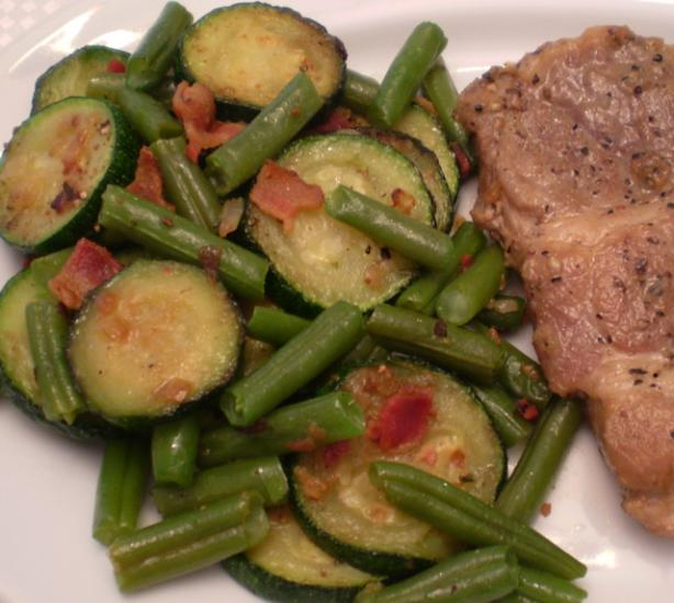 Green Beans With Zucchini and Bacon. Photo by TasteTester