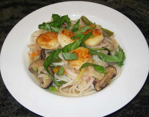 Seared Scallop Thai Noodle Soup. Photo by Maito