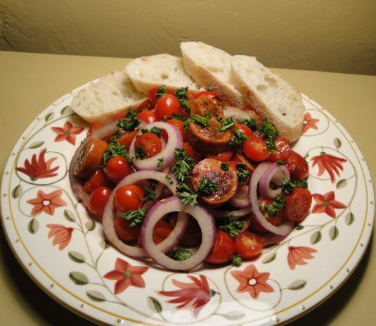 Tomato and Chorizo Salad. Photo by Debbwl
