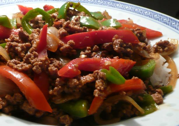 Asian Ground Beef, Pepper and Onion Saute. Photo by Stardustannie
