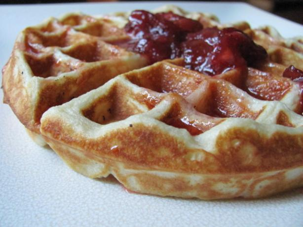 Waffles With Fresh Strawberry Syrup - Emeril Lagasse. Photo by under12parsecs