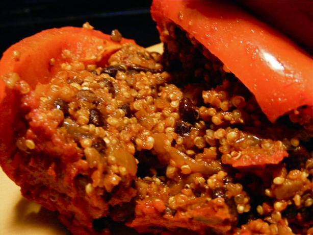 Black Bean, Mushroom & Quinoa Stuffed Bell Peppers. Photo by Kozmic Blues