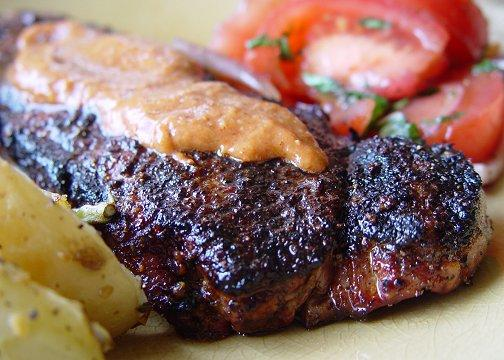Spice-Crusted New York Strip Steaks With Mesa Grill Steak Sauce. Photo by Beautiful BC