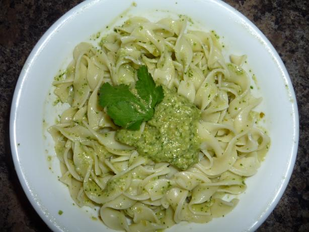Green Chile-Cilantro Pesto Sauce (Pasta). Photo by Marney
