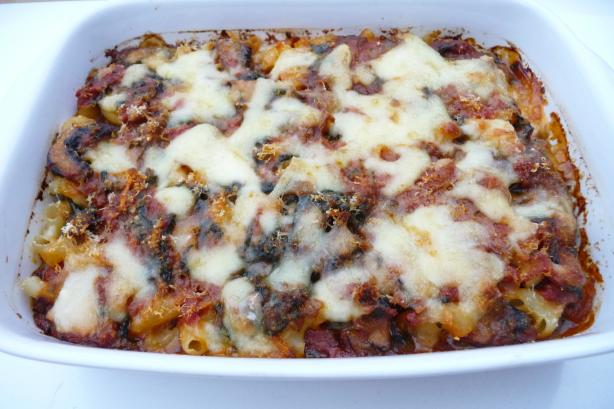 Spinach and Mushroom Pasta Bake. Photo by Tea Jenny