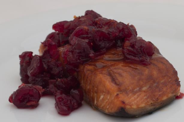 Cedar Planked Fresh Salmon Fillet With Spiced Cranberry Relish. Photo by Peter J