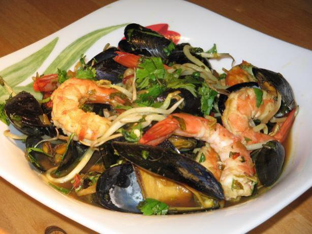 Asian Stir-Fried Mussels and Prawns. Photo by The Flying Chef
