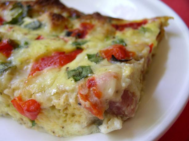 Frittata With Ham and Roasted Pepper. Photo by Bayhill