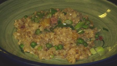 Creamy Pea &amp; Chive Pearl Barley Risotto (Reduced Fat). Photo by Karen Elizabeth