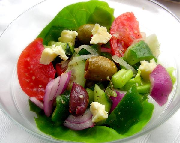 Greek Village Salad (Nick and Marina Makris Horiatiki Salad). Photo by Andi of Longmeadow Farm